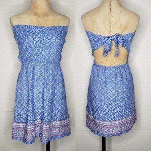 NWT Kiwi & Punch Smocked Tie Back Blue Dress SZ  M